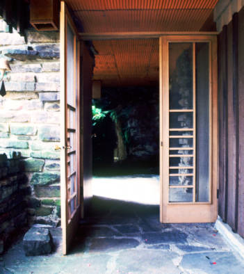 Front door, Fay Jones Residence