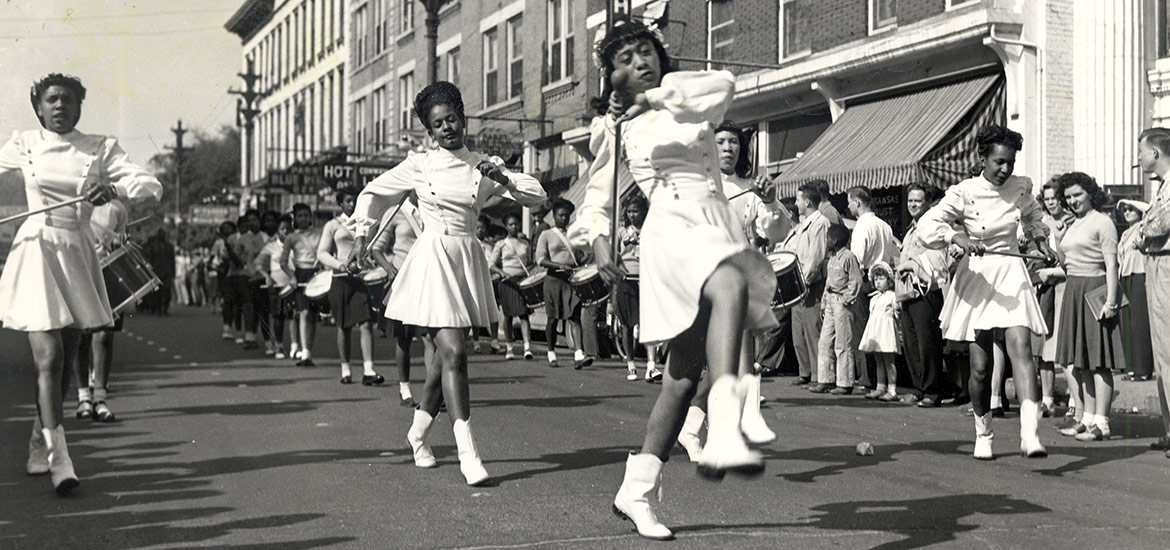 Girls from Langston High School Participating in Parade; Hot Springs, Arkansas.