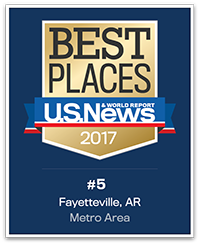 U.S. News and World Report Best Places 2017, #5 Fayetteville, AR Metro Area