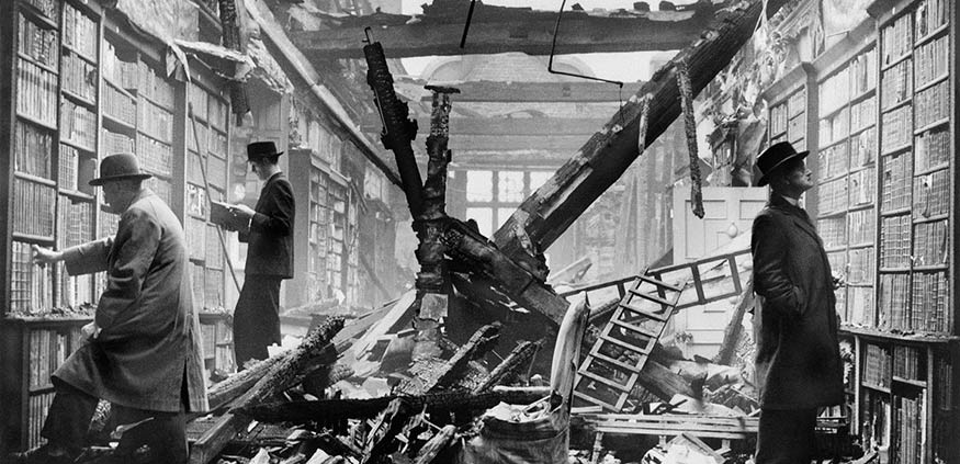 London readers continue to browse at a bombed-out library, WWII