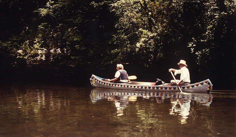 Neil and Laurene in canoe with decals June 1 1985