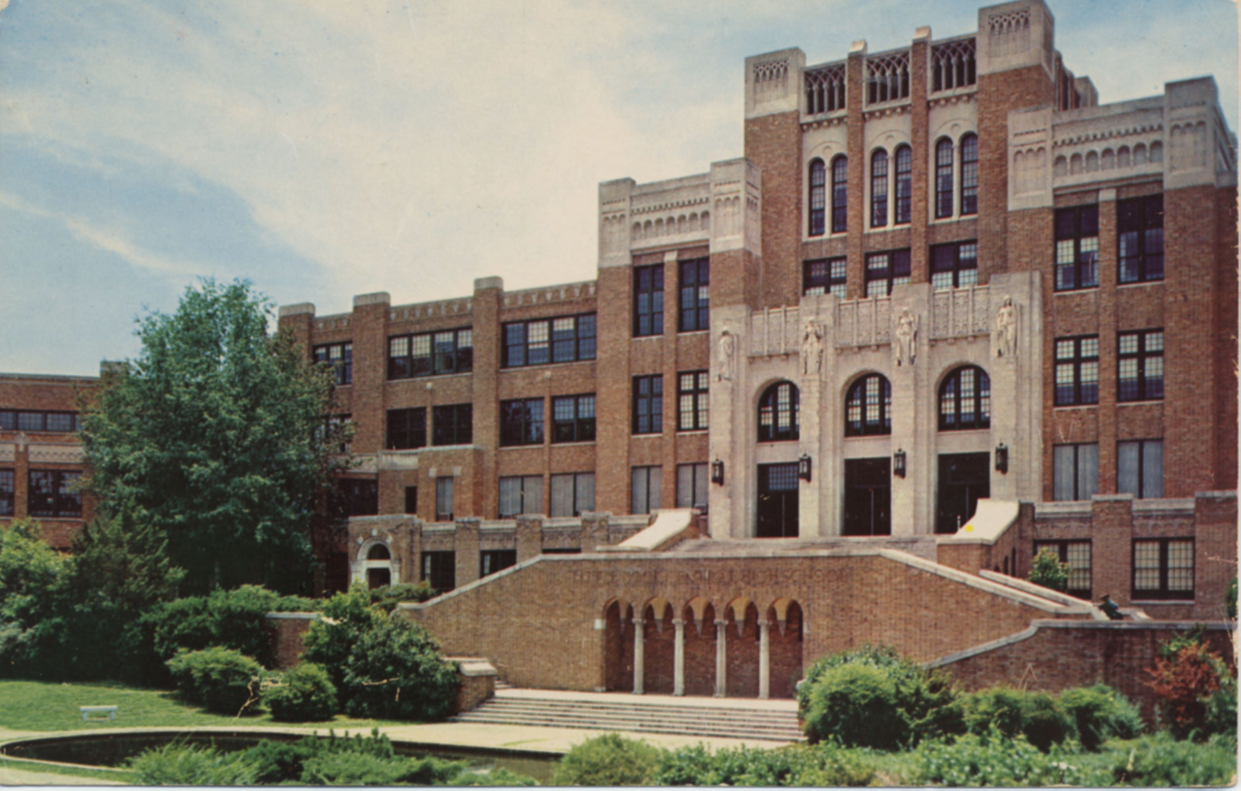 Postcard of Little Rock's Central High School